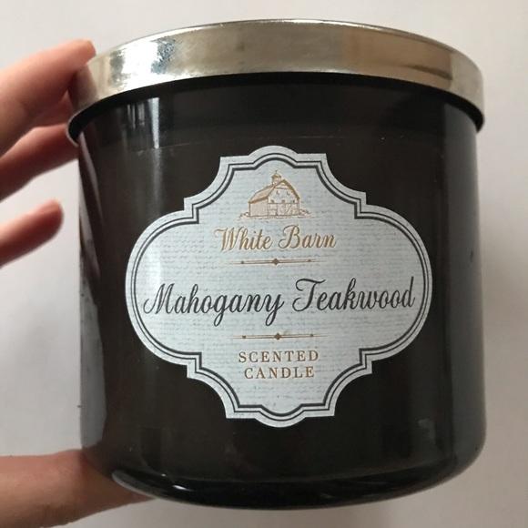 Mahogany Teakwood White Barn 3-Wick Candle